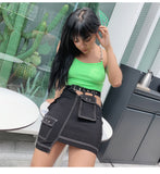 SHEMODA FANCY URBAN STYLE IRREGULAR DESIGN SKIRT WITH MATCHING CROP TOP