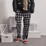 A BELIEF ON WAY BY ABOW LIFE PLAID TRACK PANTS - boopdo