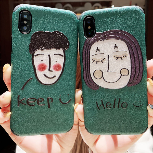 HELLO KEEP SMILE CUTIE FACE PRINT IPHONE APPLE PHONE CASE - boopdo