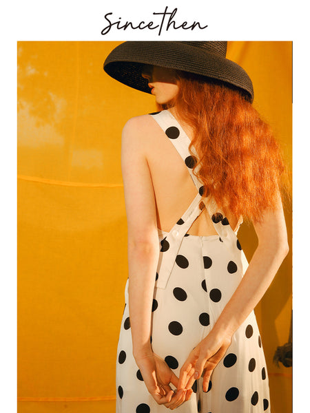 SINCE THEN BUTTON FRONT WIDE LEG JUMPSUIT IN POLKA DOT PRINT