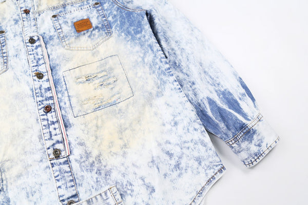 BOOPDO DESIGN SNOWFLAKE WASHED DENIM SHIRT IN ICE BLUE - boopdo