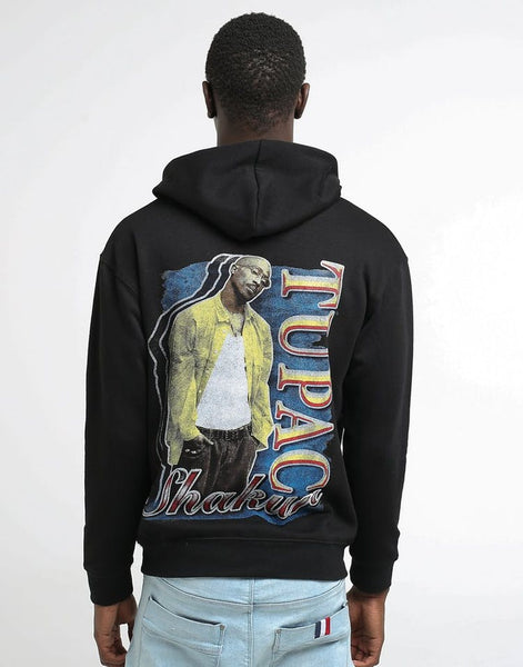 Zoza Tupack Shaku Rapper Print Hoodie Sweatshirt In White And Black