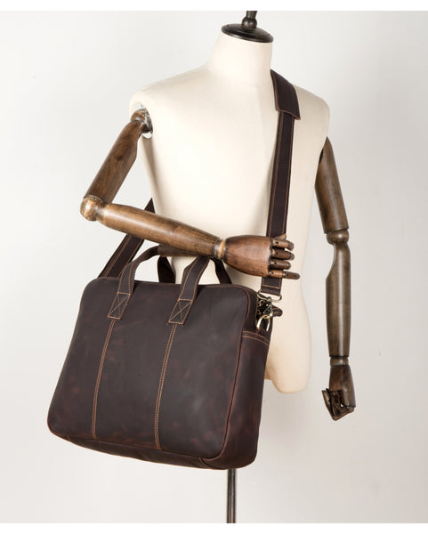 MANTIME HYPERSPACE TOTE HANDMADE LEATHER 16 INCHES SHOULDER BAGS IN BROWN - boopdo