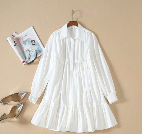 BBL DESIGN TIERED MINI SMOCK SHIRT DRESS IN WHITE