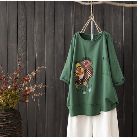 AUTUMN OVERSIZED ORGANIC COTTON T SHIRT WITH CARTOON PATCH
