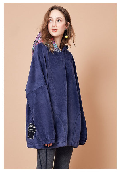 ARTKA OVERSIZED HOODIE WITH MULTI COLOR PRINT HOOD - boopdo