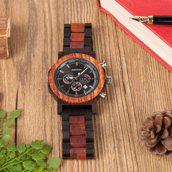 Bobo Bird Handmade Domineering Design Large Dial Wooden Watch In Black
