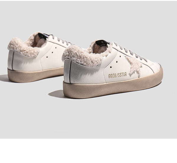 FXSO GOLD LETTERS PRINT TRAINERS IN WOOLEN WHITE B18379 - boopdo