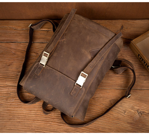 MANTIME SEVENTIETH MARISA VINTAGE 14 INCHES HANDMADE TRAVEL BACKPACK IN BROWN - boopdo