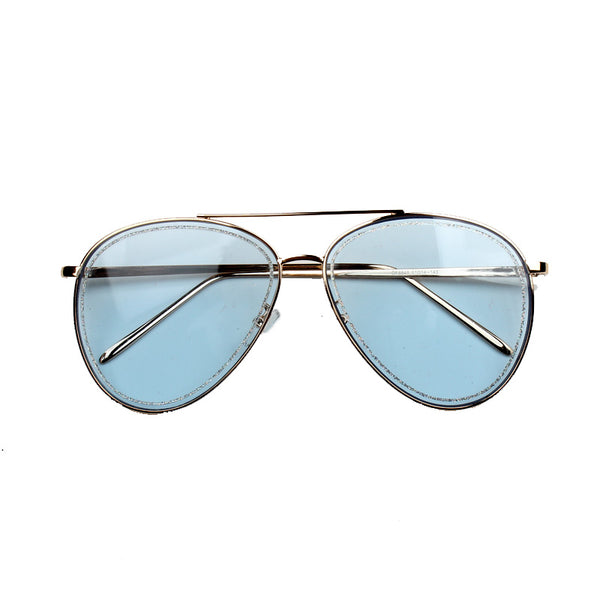 BOOPDO DESIGN OCEAN BLUE ANTI UVB LARGE FRAME SUNGLASSES - boopdo