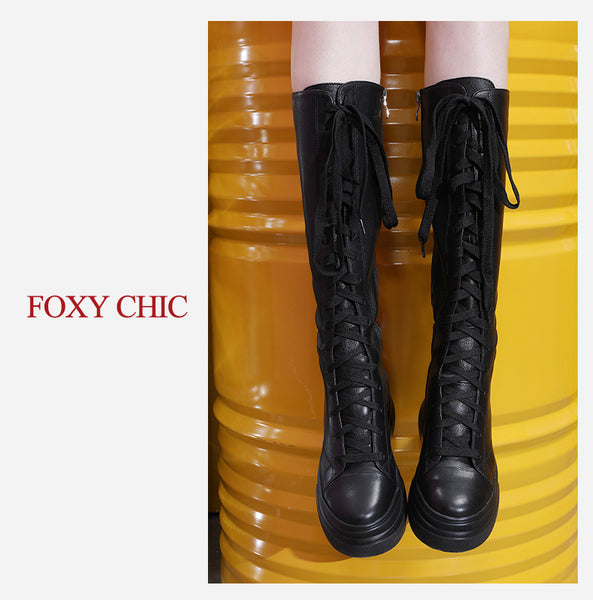 FOXY CHIC SHIRLEY ANDERSON DESIGN CHUNKY HIGH HEELED LEATHER BOOTS - boopdo