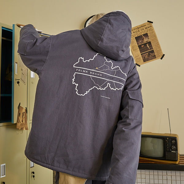 FRLMK LAMBSKIN MAP PRINT WINDBREAKER STAND COLLAR UNISEX JACKET IN PATCH POCKET - boopdo