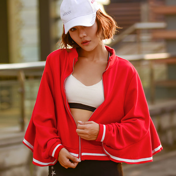 MIP RED TRACK JACKET WITH FRILL SLEEVE DESIGN