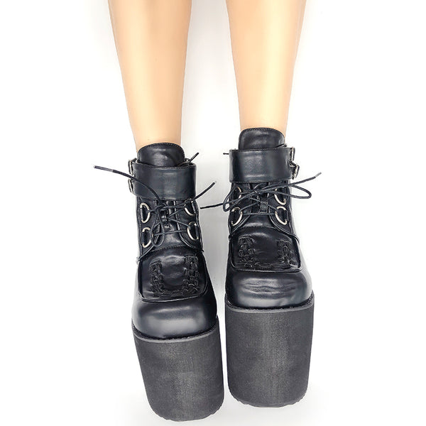 MOMO GOTHIC JAPANESE CATWALK SKY HIGH HEEL PLATFORM PUNK BOOTS - boopdo