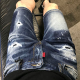 PUNK REVOLUTION AMILIA RIPPED PATCH DENIM JEAN SHORT PANTS IN BLUE - boopdo
