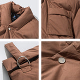 NAZZE PLUSH REVERSIBLE THICK COTTON JAPANESE RETRO DESIGN LONG BROWN JACKET