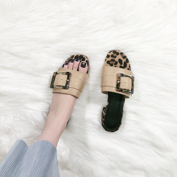 BOOPDO DESIGN BUCKLE DETAIL SANDALS WITH ANIMAL PRINT - boopdo