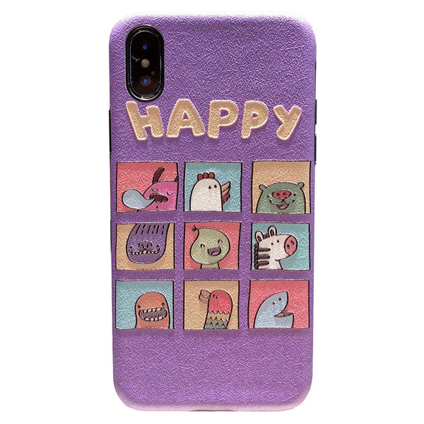 happy embossed name iphone anti fall phone cases in purple