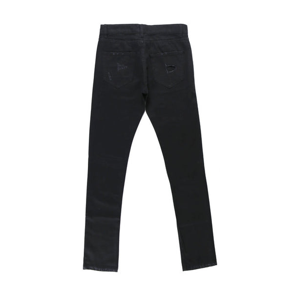PARKER RIPPED REPAIR WASHED DENIM JEAN PANTS IN BLACK