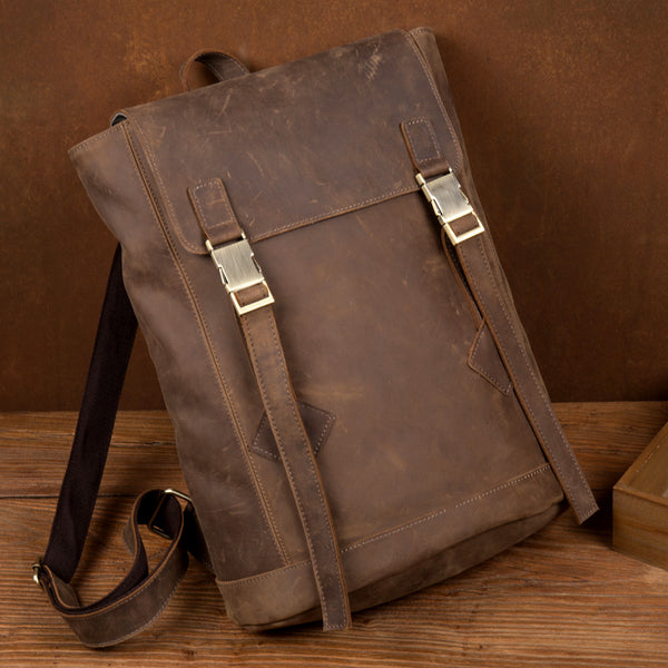 Mantime Seventieth Marisa Vintage 14 Inches Handmade Travel Backpack In Brown
