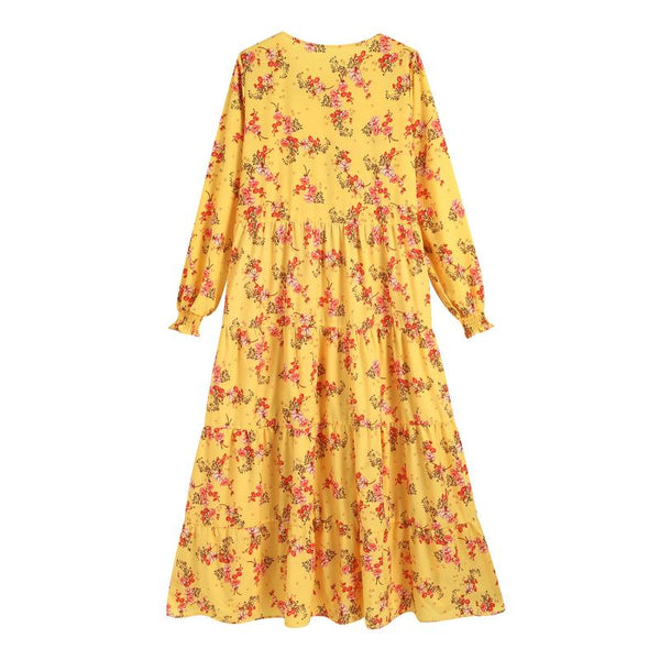 PROPHERE WOMENS FRENCH DESIGN OVER THE KNEE FLORAL DRESS IN YELLOW - boopdo