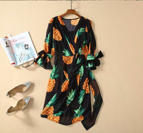 BBL DESIGN PINEAPPLE PRINT WRAP DRESS WITH TIE SLEEVES