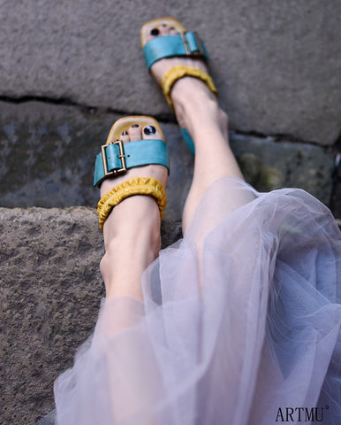 ARTMU COLOR BLOCK BUCKLE DETAIL FLAT SANDALS IN BLUE YELLOW