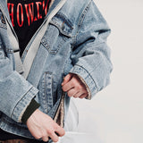 SHOW RICH MADE BY ABOW LIFE THICK DENIM JEAN RIBBON HOODED JACKET
