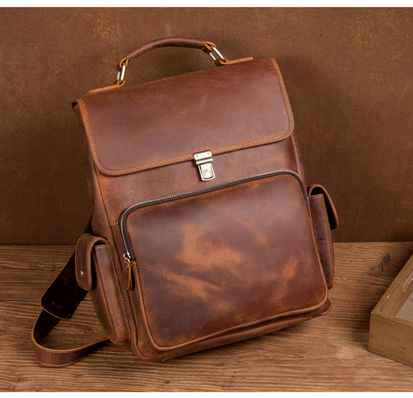MANTIME SEVENTH AVENUE RETRO BRITISH STYLE HANDMADE OUTDOOR LEATHER BACKPACK IN BROWN - boopdo