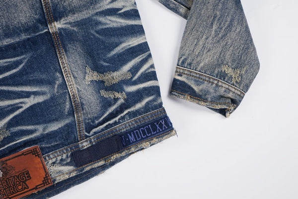 WERKY OLD SCHOOL DESIGN WASHED MAGIC DENIM JACKET IN BLUE - boopdo