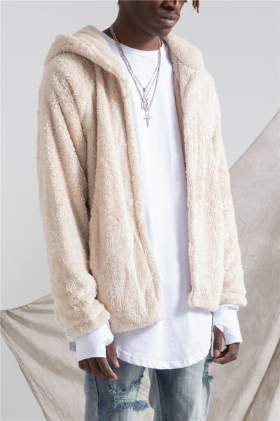 VANG KINGO PLUSH HOODED COAT IN BEIGE