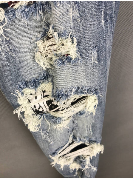 CATEN TWIX RIPPED PATCHWORK WASHED DENIM JEAN PANTS IN BLUE