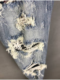 WHITE BLACK CHECKER PATCHWORK AMR WASHED DENIM BLUE JEAN PANTS IN LIGHT BLUE - boopdo