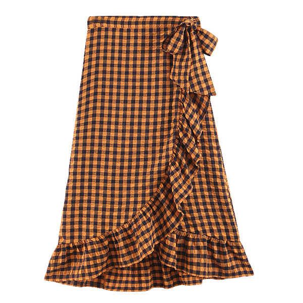 BOOPDO DESIGN VINTAGE PLAID HIGH WAIST OLD YARN SKIRT IN BROWN