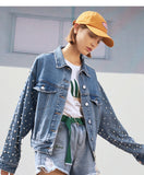 TOYOUTH WASH OLD DENIM JACKET WITH PEARL EMBELLISHMENT O8911405021 - boopdo