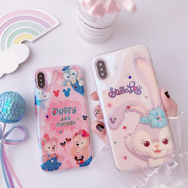 STELLOY FRIENDS CARTOON BEAR AND RABBIT APPLE IPHONE CASES WITH RHINESTONE