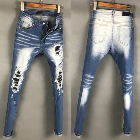 BOOPDO DESIGN RIPPED PATCHWORK WASHED DENIM JEAN PANTS IN ICE BLUE