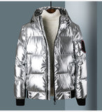 HOODED SUNGLASSES BRIGHT REFLECTIVE DOWN BOMBER JACKET