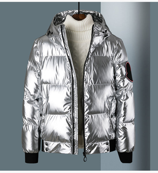 HOODED SUNGLASSES BRIGHT REFLECTIVE DOWN BOMBER JACKET - boopdo