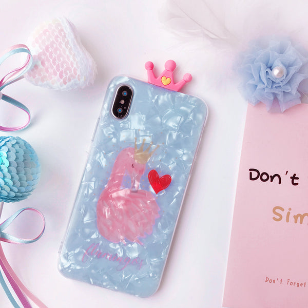 FLAMINGOS EMBOSSES FROSTED SHELL APPLE IPHONE CASES