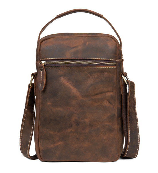 MANTIME FALCONS MCCOX HANDMADE LEATHER MESSENGER HAND BAG IN BROWN