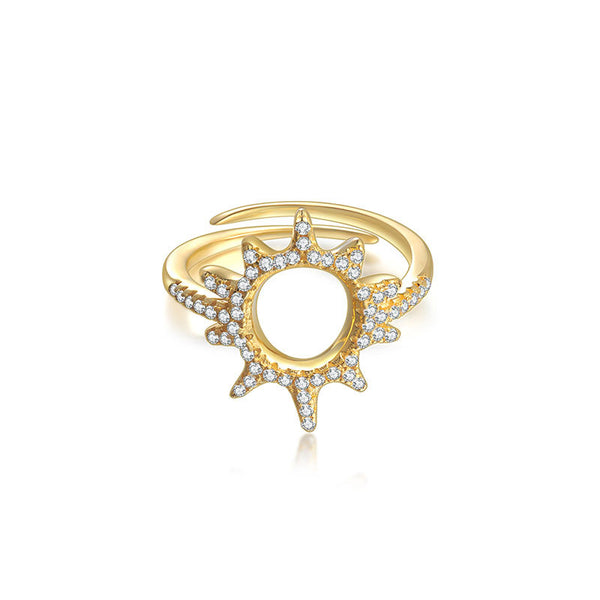 LITTLE JOYS 18K GOLD RING WITH OPEN CRYSTAL SUN DESIGN - boopdo
