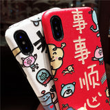 CHINESE NEW YEAR CARTOON EMBOSSED APPLE IPHONE CASES IN WHITE RED - boopdo