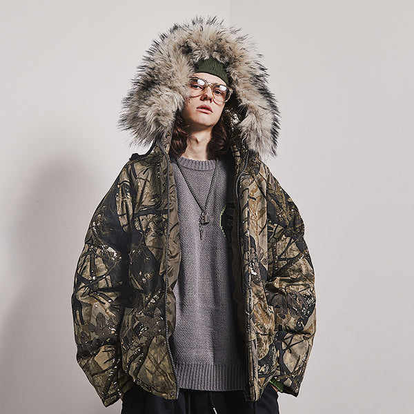 MAMC ABOW LIFE CAMOUFLAGE FAUX FUR COLLAR THICK HOODED JACKET - boopdo