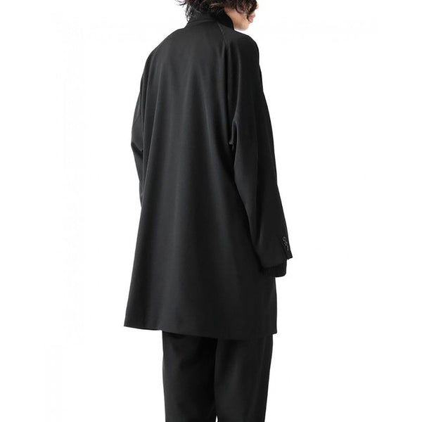 YOHJO OXYO HIGH NECK MID LENGTH WINDBREAKER JACKET IN BLACK - boopdo