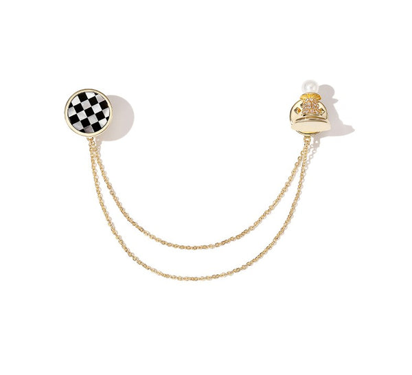 ZEGL CHESS COLLAR BROOCH IN GOLD PLATED - boopdo