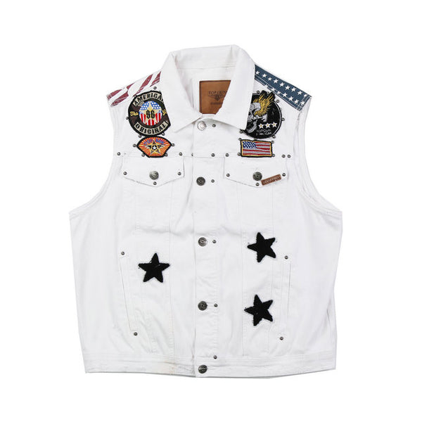 HIPSTER WEST COAST VINTAGE DENIM VEST WITH RIVET IN WHITE
