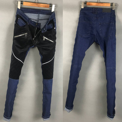 BLM DENIM FABRIC PATCH WASHED DENIM JEANS IN BLUE BLACK