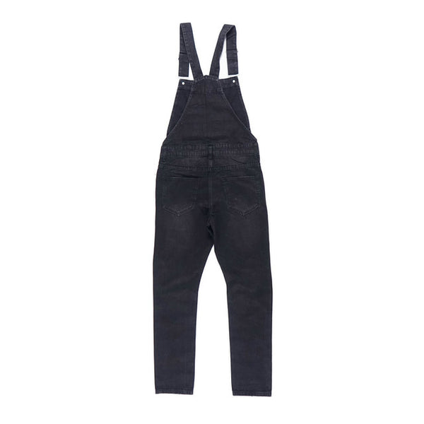 BOOPDO MONKILA RIPPED DENIM OVERALL JUMPSUIT IN NAVY AND BLACK - boopdo