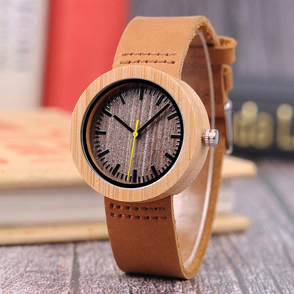 BOBO BIRD WOODEN ANALOG WATCH WITH LEATHER STRAP BAND IN TAN